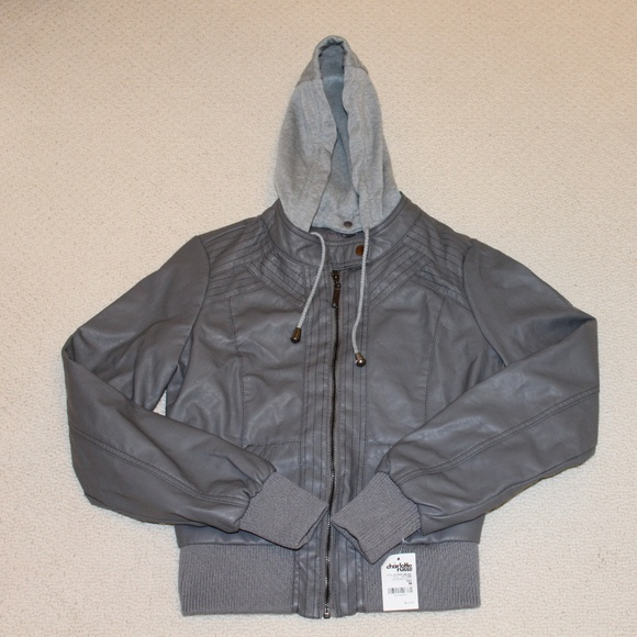 Charlotte Russe Jackets & Blazers - Gray Faux Leather Bomber Jacket  Medium NWT
